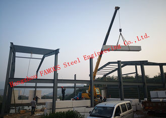 Prefabricated Q345B Column Industrial Metal Buildings With FASEC Prefab - I Panel Cladding For Warehouse
