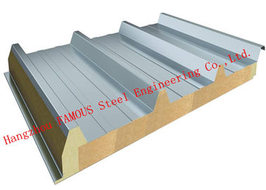 China Recycled Usage Fire Resistant Rock Wool Sandwich Panels Easy Installation Roof Systems supplier