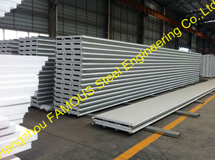 China Fiberglass Rockwool Insulated Sandwich Panels , Prefabricated Roof Wall supplier