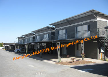 China Double Storey Flat Pack Accommodation Block With Modern Look Roof And External Wall And A Carport factory