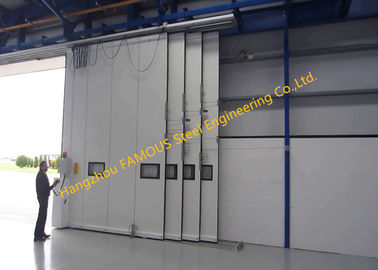 China Multi Sector Structural Folded Hinged Sliding Doors Bottom Rolling Hangar Door Smart Track Design factory