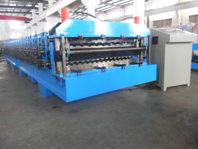 Steel Tile Corrugated Roll Forming Machine By Chain / Gear