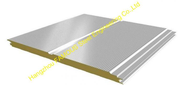 Heat Insulation Warehouse Metal Roofing Sheets Polyurethane Sandwich Panel  With Fire Resistance