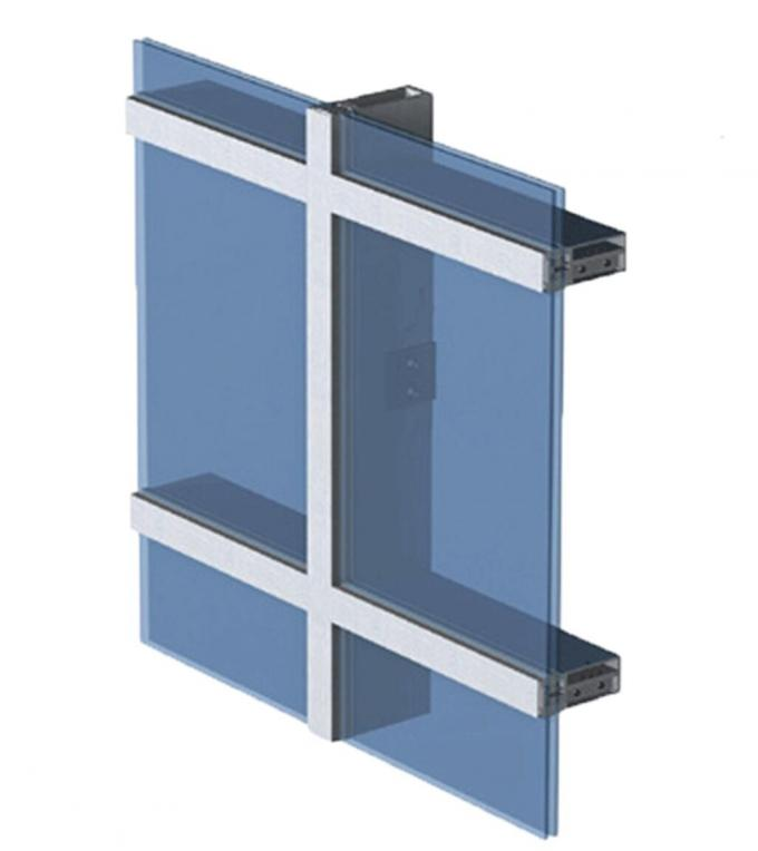 Double/Triple Insulated Fire Glass Façade Curtain Walling Units Structural Glazing Stick Built System