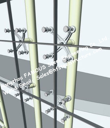 Point Fixed Glass System Curtain Walls Cable Tensioned Façade Supporting Starglass System
