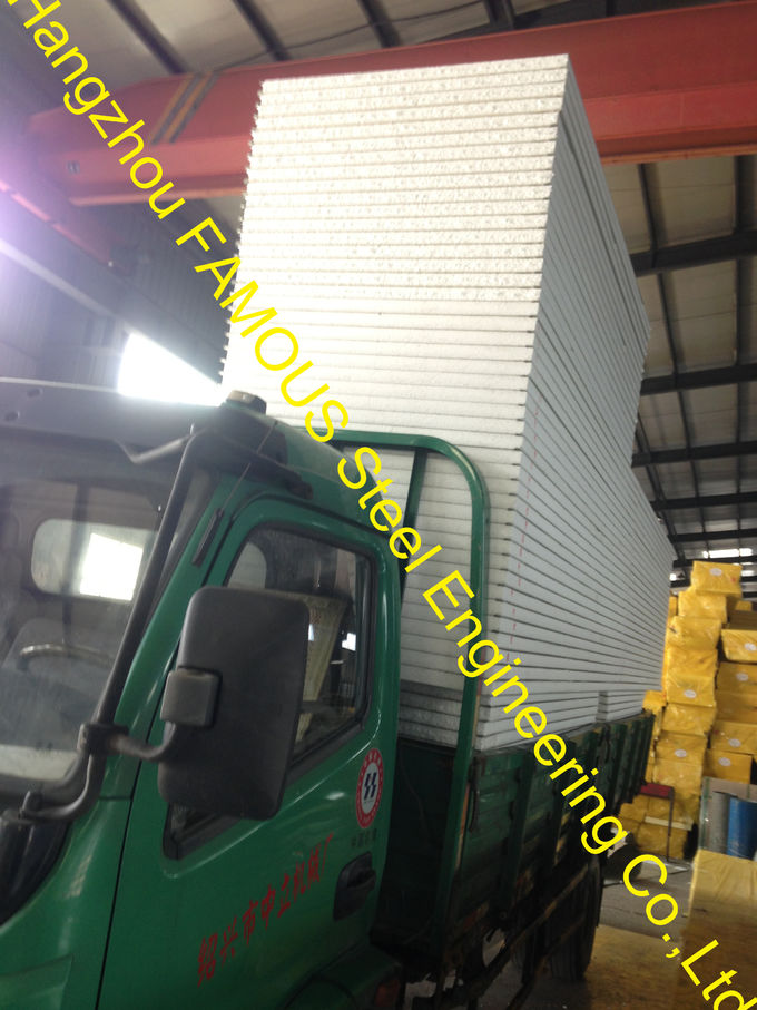 Polystyrene Insulated Sandwich Panels / Metal Roofing Sheets Warehouse